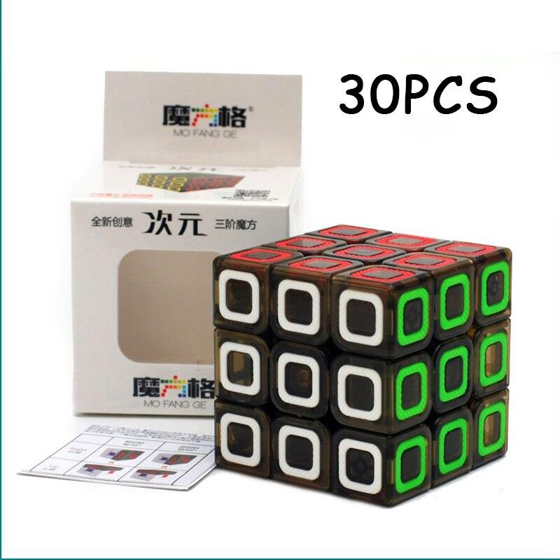 30 PCS QiYi Dimension Transparent Black Magic cube 3x3x3 Professionnel Vitesse Twist Puzzle Cubo magico Non autocollant Jouet Pour Enfants