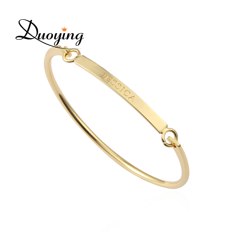 DUOYING 40*4 mm Gold Bar Bangle Bracelet Custom Name Copper Bracelet Personalize Initial Engrave Name Bracelet & Bangle for Etsy