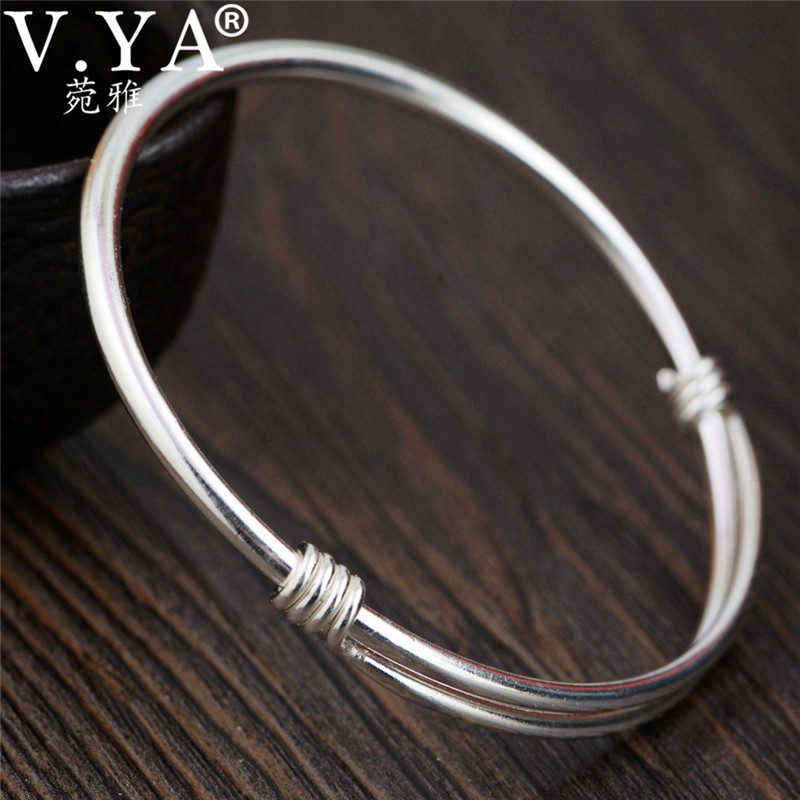 V.YA 990 Sterling Silver Adjustable Bangle for Women Ladies Vintage Thai Silver Bracelets Bangles Wholesale Jewelry emith fla 100% real 999 sterling silver bangle opening fashion jewelry for women lotus adjustable vintage thai silver bracelets