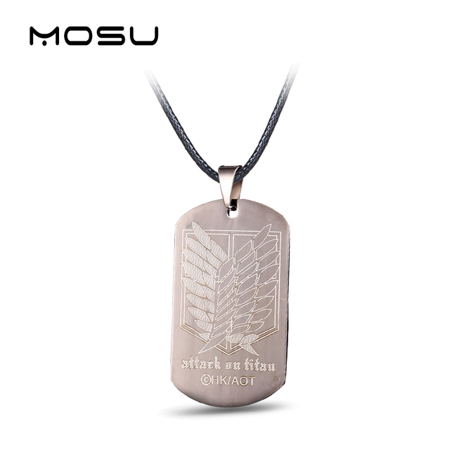 Attack on Titan Titanium Metal Necklace Dog Tags Cosplay Jewelry Pendant