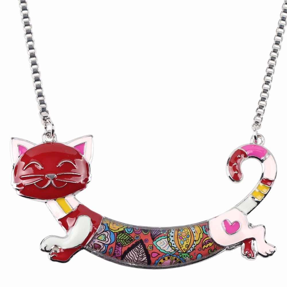 Bonsny声明マキシ合金エナメル猫チョーカーネックレスチェーンペンダント襟2018ファッション新しいエナメルジュエリー用女性女の子ギフト