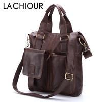 LACHIOUR Genuine Leather bag Business Men bags Laptop Tote Briefcases Crossbody bags Shoulder Handbag Men's Messenger