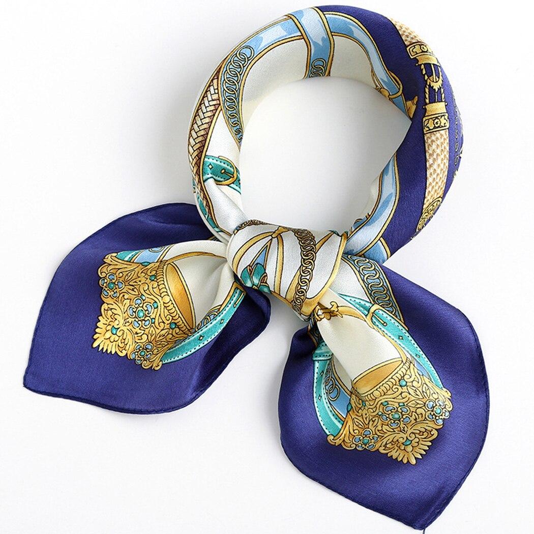 5Pcs Women Satin Silk Square Scarf Wrapped Neck Head Wrist Multi-functional All Match Scarf Women Fashion Soft Flower Print Wrap