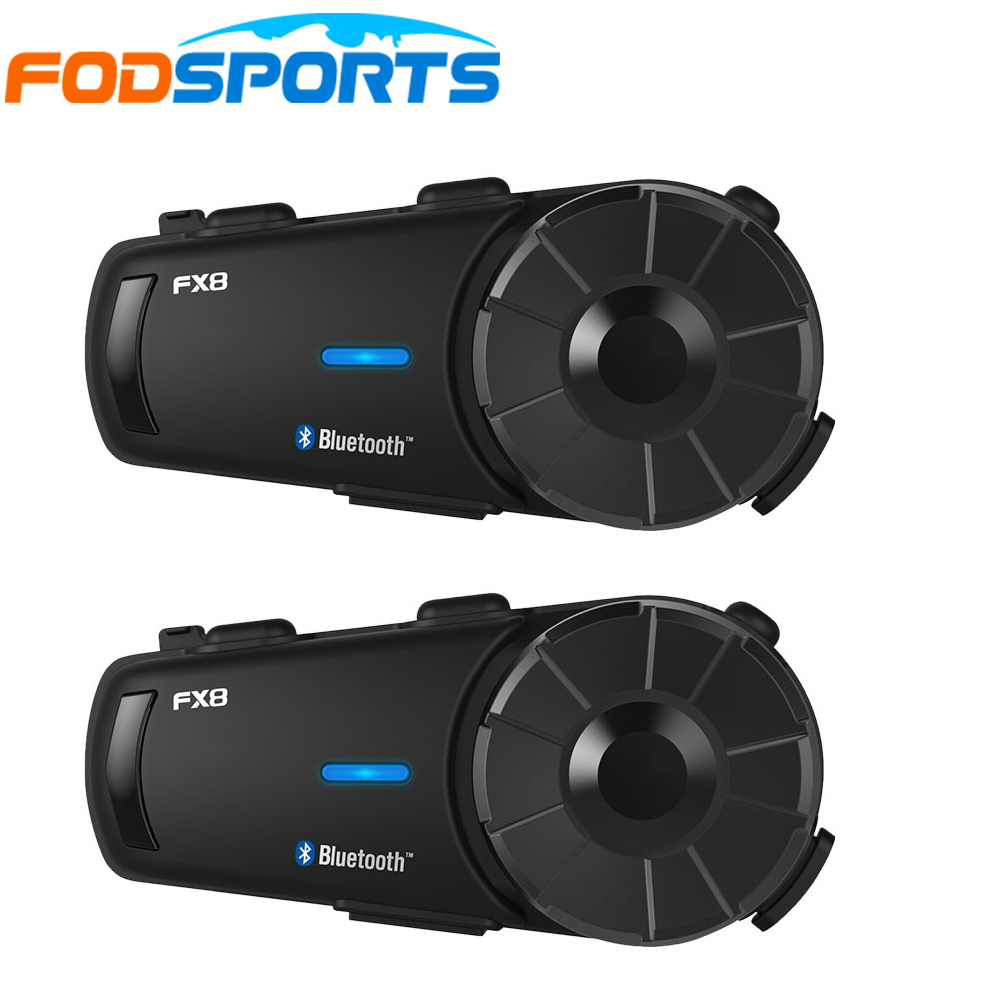 2 Pcs Fodsport FX8 Motorcycle Helmet Headset 8 Riders Group Talk 1000m Bluetooth Moto Intercom Wireless BT Interphone With FM
