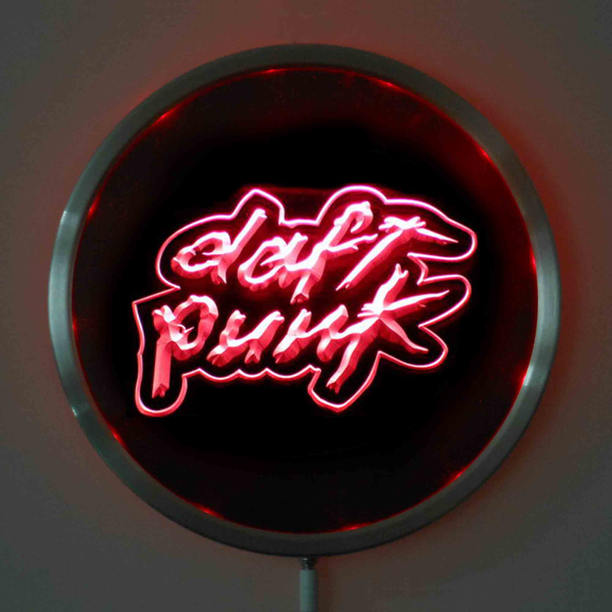 rs-0311 DISCOVERY DAFT PUNK LED Neon Round Signs 25cm/ 10 Inch - Bar Sign with RGB Multi-Color Remote Wireless Control Function