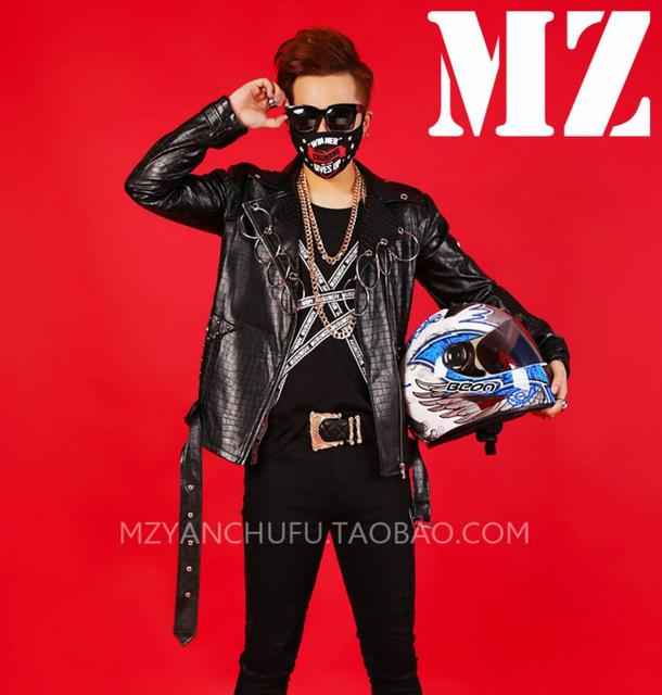 HOT !  imitation crocodile leather jacket Men singers GD Bigbang dj singers hoop locomotive leather coat stage coat costumes !