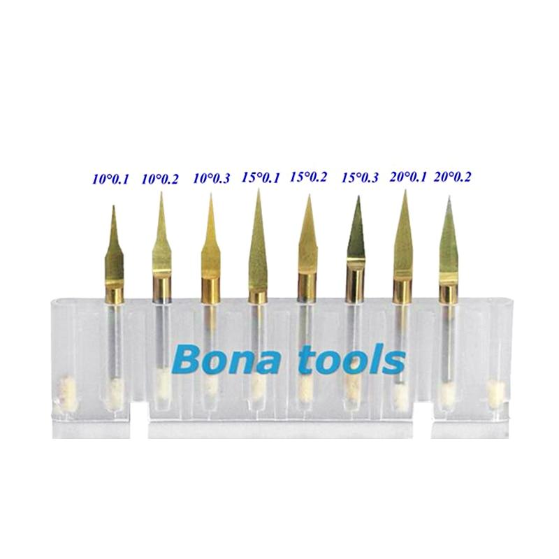Купить с кэшбэком 10x 3.175MM Shank 15 Angle 0.1MM Tip, Titanium Coated Carbide PCB Engraving Cutter, CNC Bit Router Tool,Milling Cutter Free Ship
