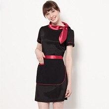 цена на New fashion Restaurant waitress uniforms food service clothing female summer dress work wear restaurant staff uniforms for women