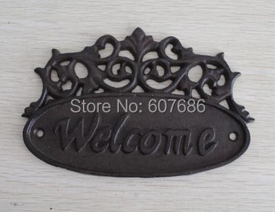 2 pieces country outdoor welcome metal door sign vintage for Plaque de metal adhesive