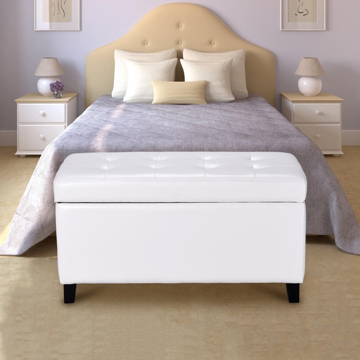 Giantex 33.5\'\' Living Room Storage Ottoman Bench Modern Single ...