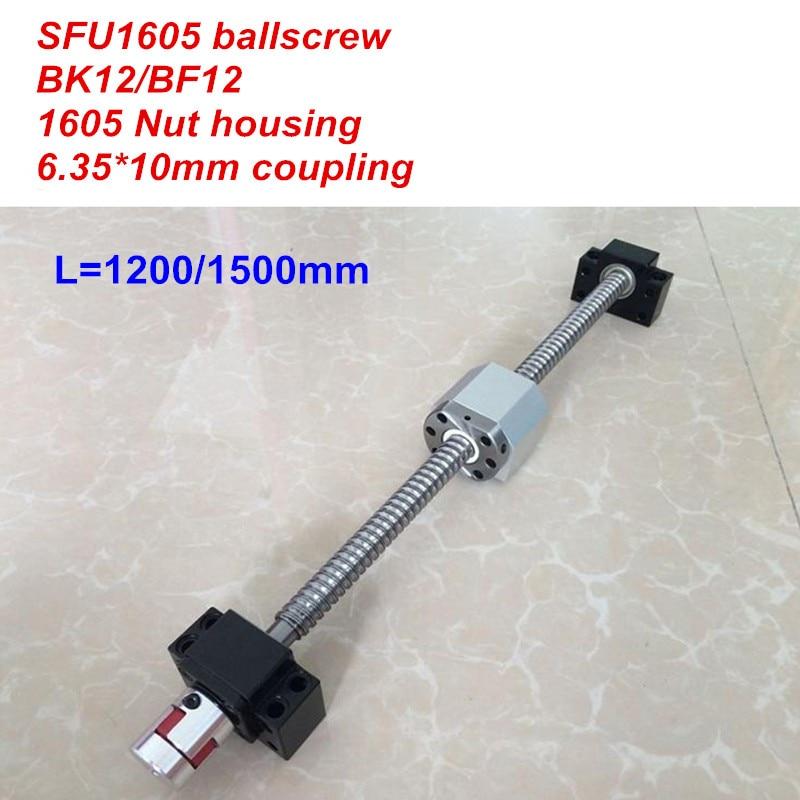 SFU1610 1200mm 1500mm ballscrew BK12 BF12 1610 nut Housing 6 35 10 Coupler