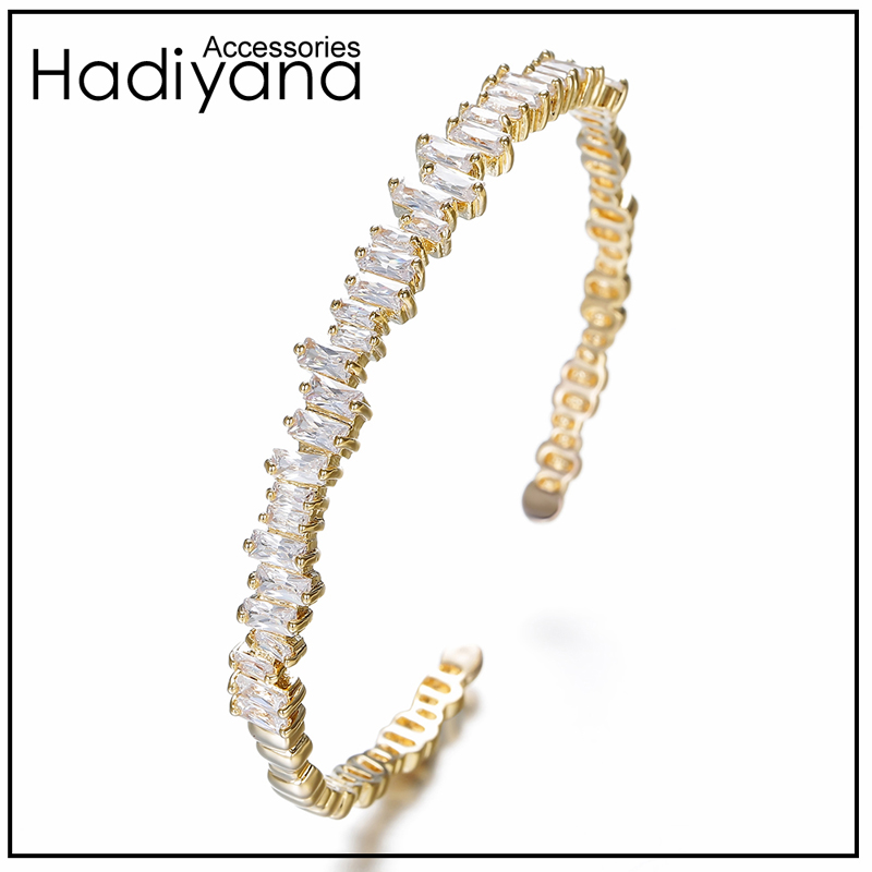 Hadiyana New T Cubic Zirconia Screw Bangle Beautiful Engagement Micro Pave Jewelry Bracelets Bangles Gift Style For Women SZ040