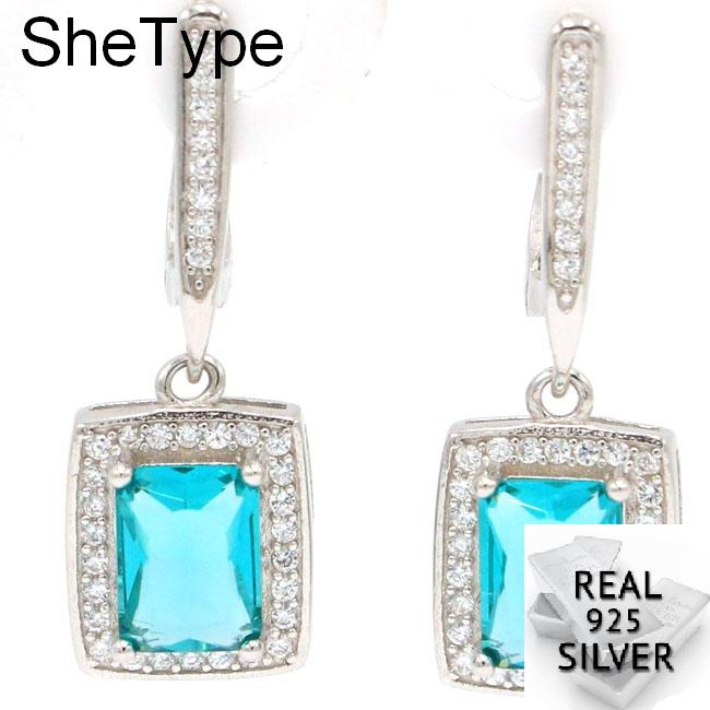 5.4g Ravishing Rich Blue Aquamarine White CZ Gift For Girls 925 Solid Sterling Silver Earrings 29x10mm