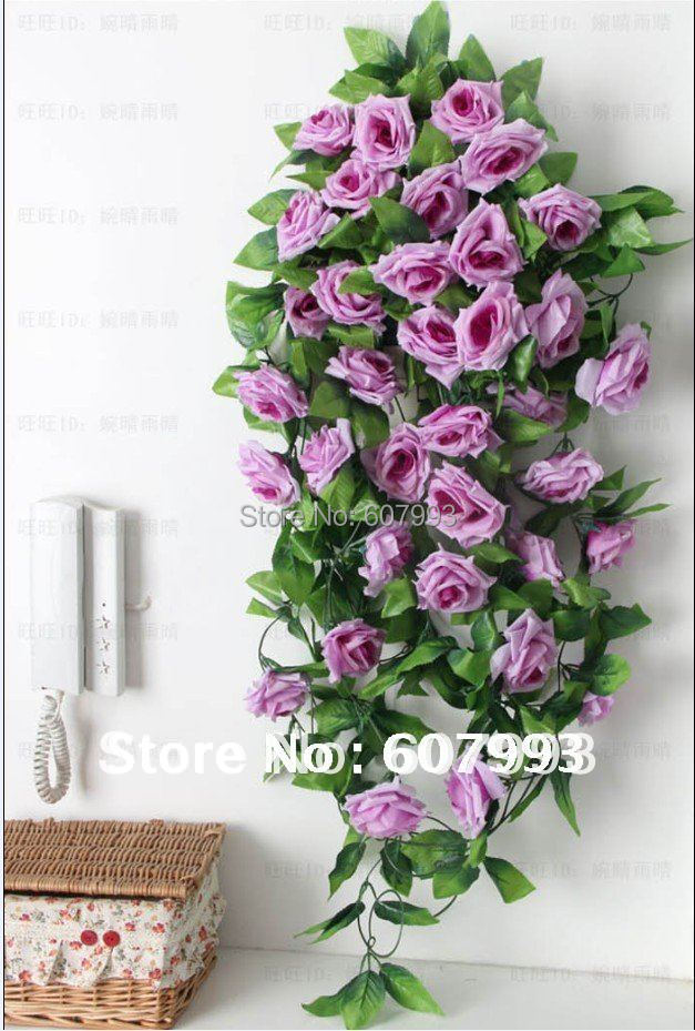 Simulation Greenery Rattan Plant Artificial Fabric Rose Flowers Vine Faux  Silk Ivyhome