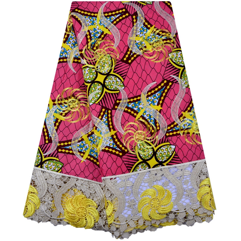 Best Selling Free Shipping African Wax Fabric Real Wax Embroidery Lace Fabric Ankara Fabric For Sewing