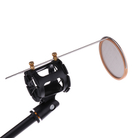Adjustable Wireless Wired Microphone Mic Stand Holder Support Pop Filter Black Interviews Chatting Accessory