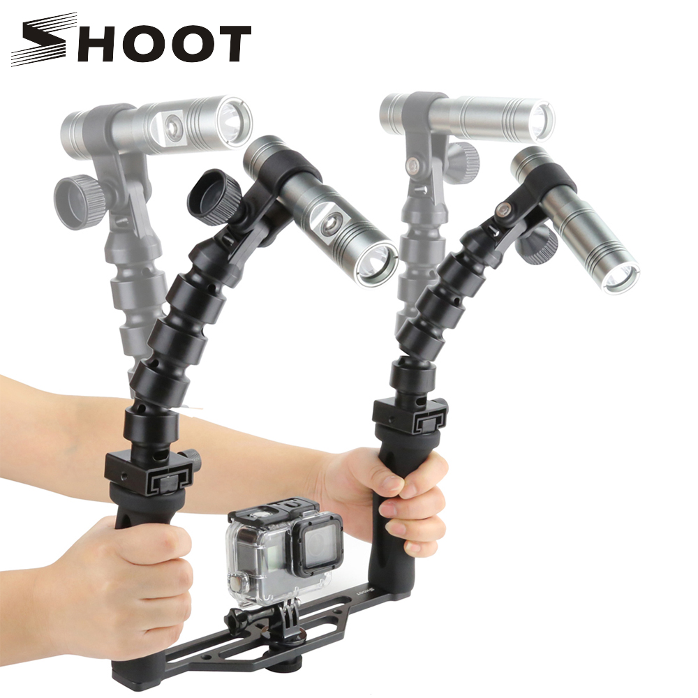 SHOOT Diving Handheld Stabilizer with Flashlights for GoPro Hero 7 6 5 Xiaomi Yi 4K Sjcam Sj4000 Eken Go Pro Hero 6 5 Accessory shoot jaws flex clamp mount for gopro hero 7 6 5 xiaomi yi 4k sjcam eken h9r with bucket tripod holder for go pro hero accessory