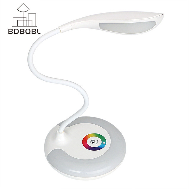 BDBQBL 3 Level Touch RGB Base Eye-protection Lamp Night Dimmable LED Desk Lamp USB Charging Book Reading Light Rechargeable