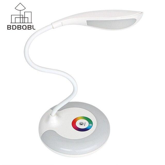 BDBQBL 3 уровня сенсорный RGB база защита глаз лампа Ночной Диммируемый светодиодный настольная лампа usb зарядка книга свет для чтения перезаряжаемый