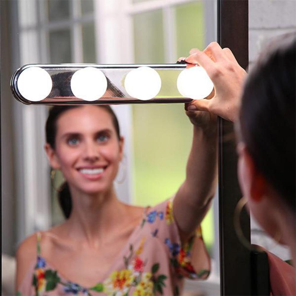 4 bombilla Hollywood espejo de maquillaje Led luz de la succión de la Copa instalación tocador vanidad de baño de luz lámpara de pared con batería