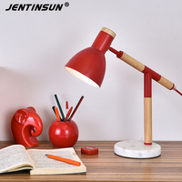 European Design Modern Table Lamp Wood Metal Desk Lamps Marble Base Light Luxury LED Reading Lights