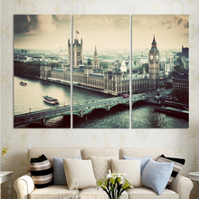 No Frame Wall Painting City Building Bridge 3 Panels/Set Large HD Picture Canvas Print Painting Artwork Home Decorative Painting