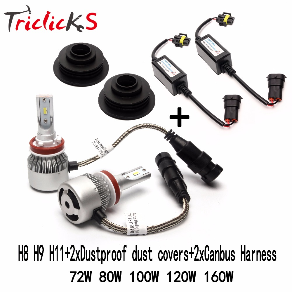 Triclicks H8 H9 H11 Flip Chip Headlights LED Hi-Lo Car Light Bulb Error Free Canbus Headlight+2x Dustproof Dust Cover+2x Decoder h4 7 led headlights with led car canbus led chip 80w 8000lm 6000k hi lo led driving light for off road uaz lada