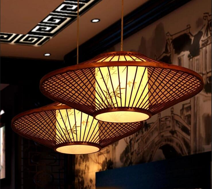 Chinese style antique parchment restaurant pendant lamp room Restaurant southeast bamboo Retro pendant lights chinese style classical wooden sheepskin pendant light living room lights bedroom lamp restaurant lamp restaurant lights