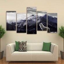 Artsailing 5 шт Снежная гора плато волк картины животное холст