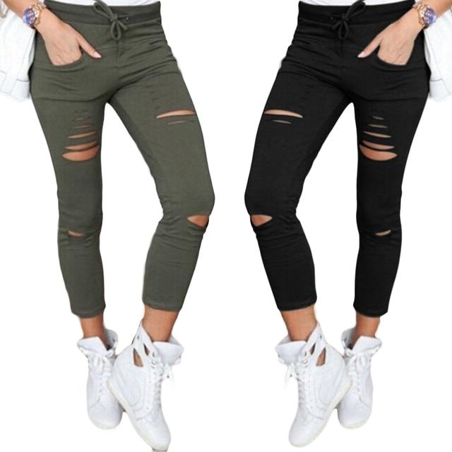 f9cca64e43f 2019 Pants Women Elastic High Waist New Fashion 4XL Plus Size Hole Pencil  Pants Ankle-Length Casual Slim Solid Color Trousers
