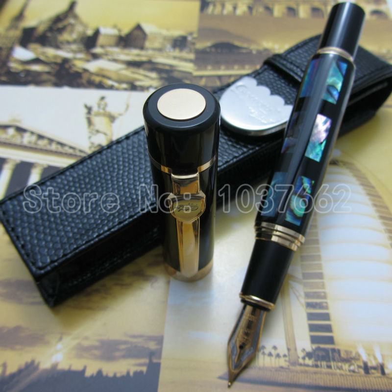 Fountain Pen JIN HAO Deep Sea Bright Pearl Shell 18KGP M NIB and holster free shipping environmentally friendly pvc inflatable shell water floating row of a variety of swimming pearl shell swimming ring