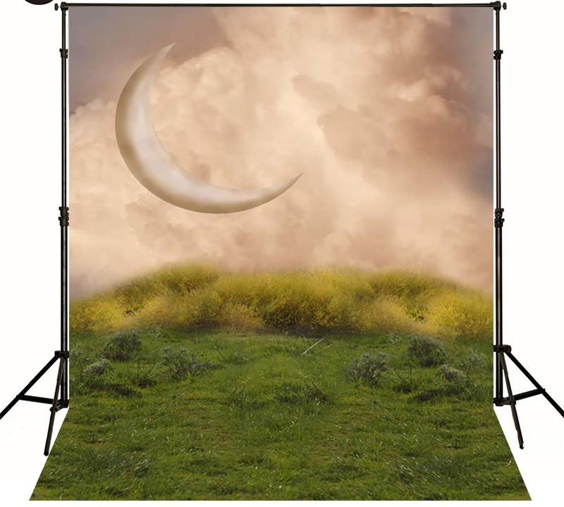 Moon Clouds Natural Lawn Photography Backgrounds Vinyl cloth High quality Computer printed backdrops