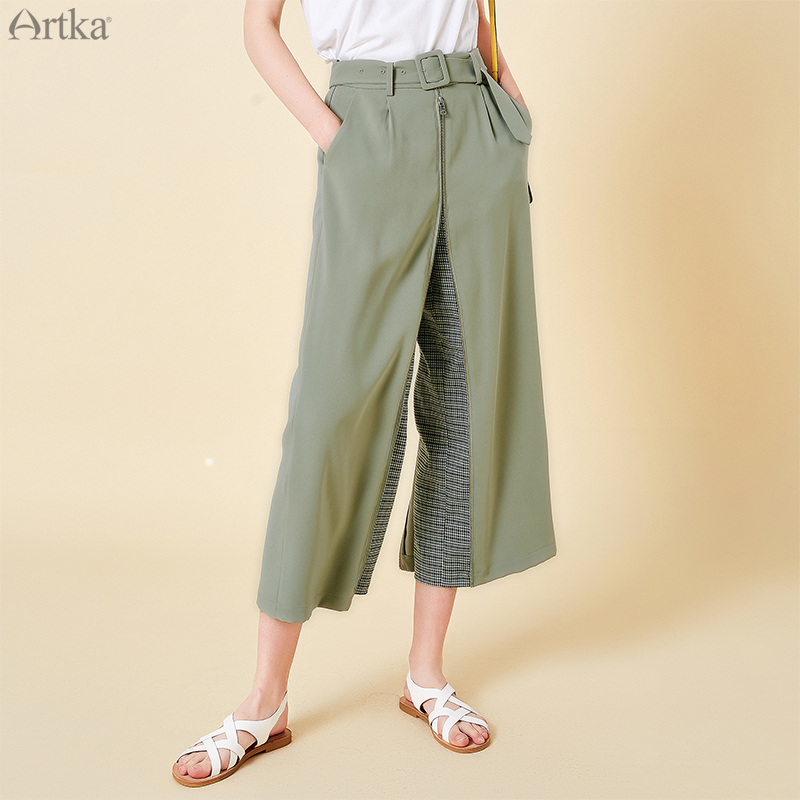 ARTKA 2019 SpringSummer Women   Pants   Ankle-Length   Pants   Fashion High Waist Trousers   Wide     Leg     Pants   Dual-purpose Culottes KA15099C