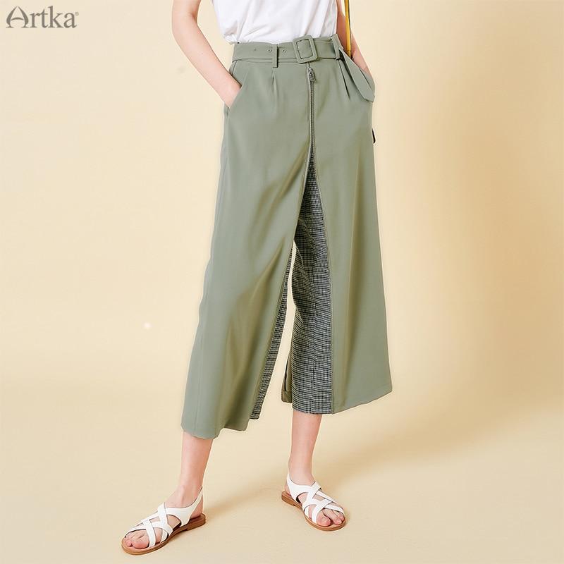 Artka 2019 봄 여름 여성 바지 발목 길이 바지 패션 높은 허리 바지 넓은 다리 바지 이중 목적 퀼로트 ka15099c-에서팬티 & 카프리스부터 여성 의류 의  그룹 1