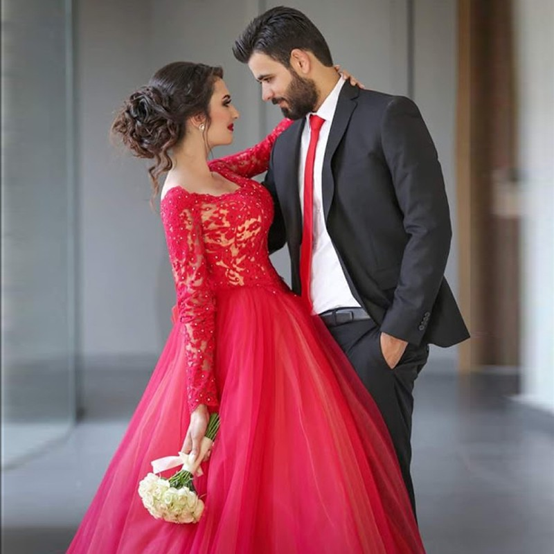 Red Ball Gown Plus Size Prom Dresses Long Sleeves  Lace Elegant Evening Gowns Formal Women Party Dress For Wedding In Prom Dresses From Weddings