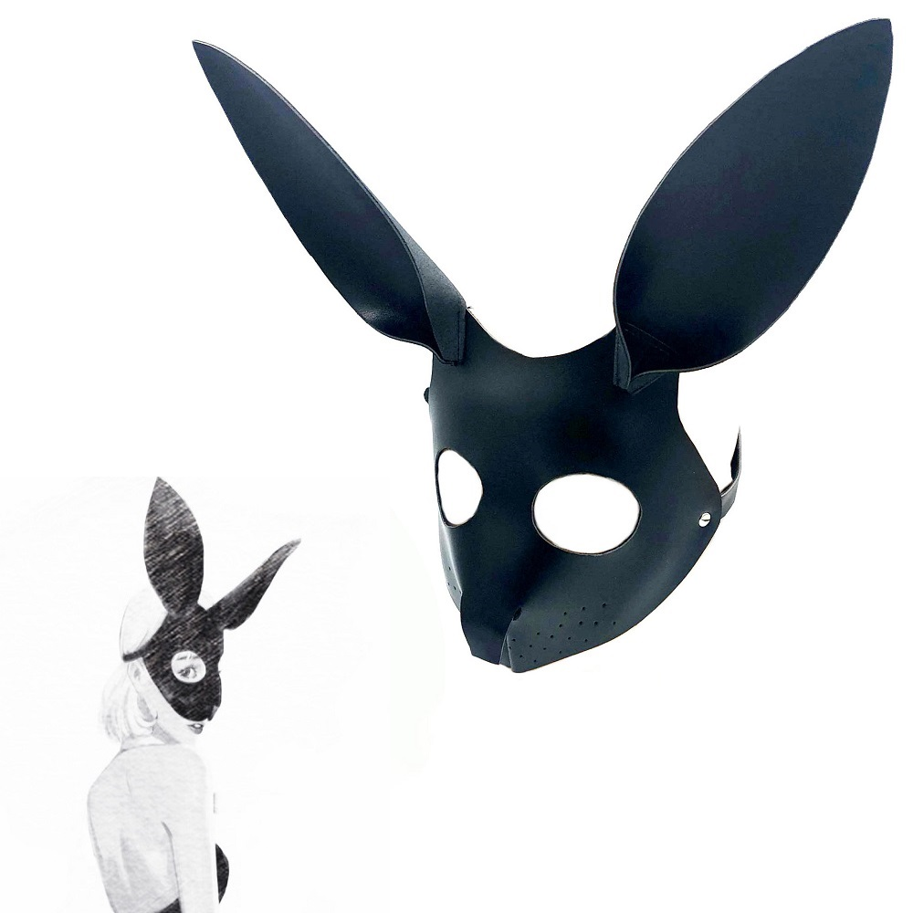 New rabbit Headgear <font><b>Eye</b></font> <font><b>mask</b></font> oral gag leather Bondage Restraint role play couple game SM Exotic Accessories Tool Slave <font><b>sex</b></font> toy image