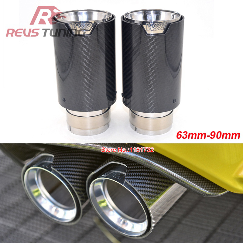 2PCS 63mm 90mm Car Racing Styling Carbon Fiber Exhaust Muffler Tip For BMW-in Mufflers from Automobiles & Motorcycles    1