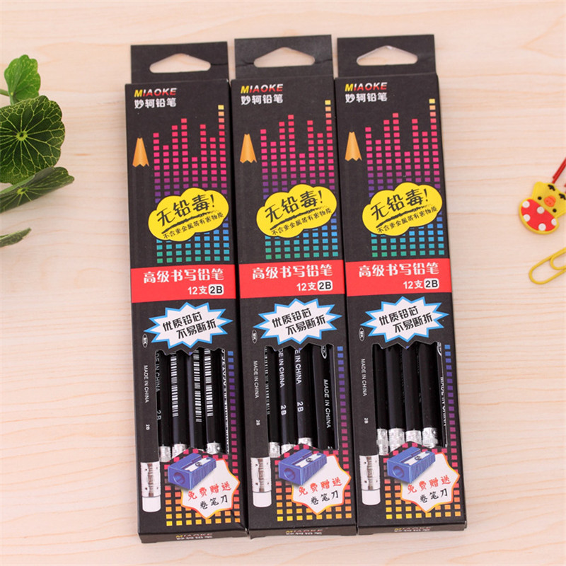12Pcs Wooden Lead Graphite Pencils 2B Carpenter Cute Drawing Kit Office Charcoal School Pen Item Stationery Store Stationary Bts