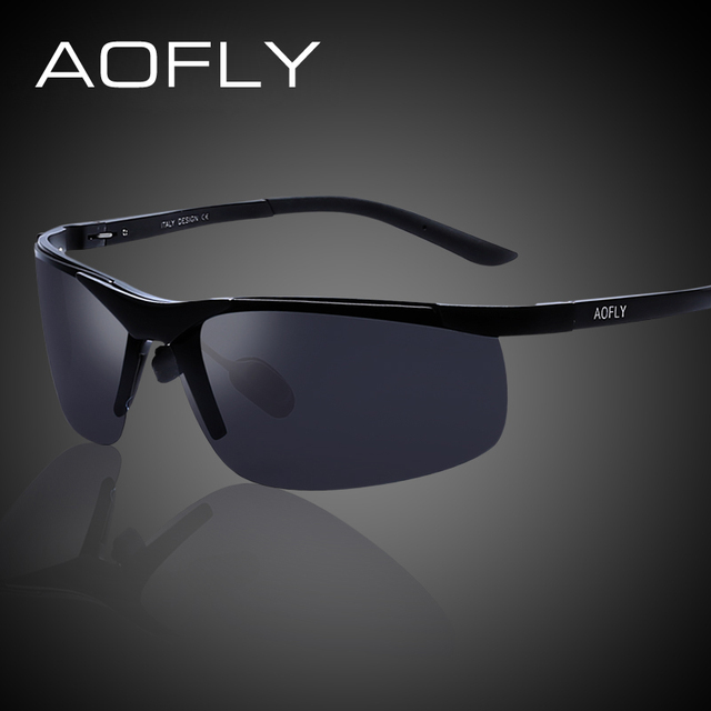 AOFLY Aluminum Magnesium Polarized Sunglasses Men Original Brand Sports Driving Sun Glasses Male HD Polaroid Shades With Case