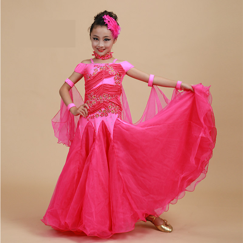 Children Standard Ballroom Dance Competition Dresses Waltz Tango Dresses Kids for Sale Girls Jazz Dance Costumes