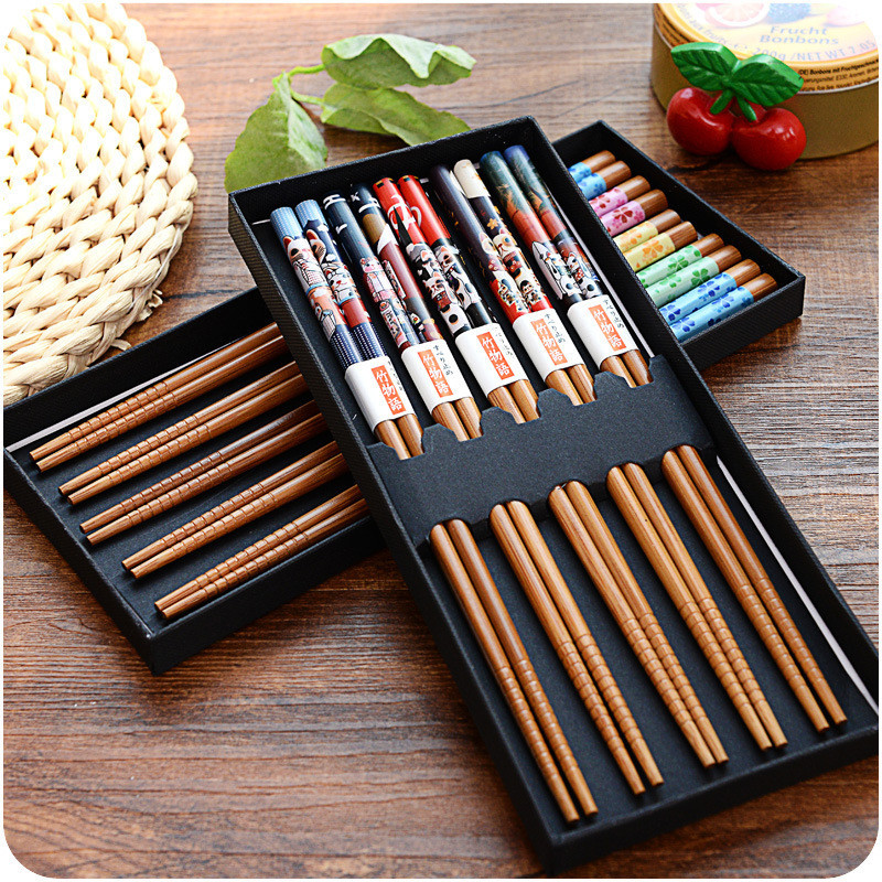 5pairs Bamboo Chinese Chopsticks Reusable Tableware Dinning Eating Japanese Chopstick for Gift Sushi Food Sticks image