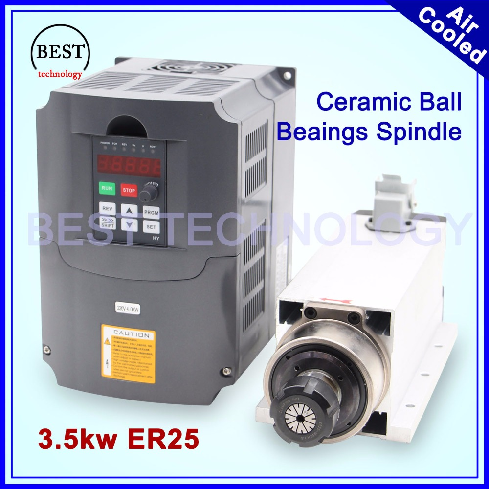 3.5kw ER25 air cooled spindle kit 300hz ceramic ball bearings square spindle ER25 collet 4pcs bearings 0.01mm accuracy & 4kw VFD