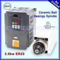 3.5kw ER25 luftgekühlten spindel kit 300 hz keramik-kugellager vierkantstift ER25 spannzange 4 stücke lager 0,01mm genauigkeit & 4kw VFD