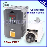 3 5kw ER25 Air Cooled Spindle Kit 300hz Ceramic Ball Bearings Square Spindle ER25 Collet 4pcs