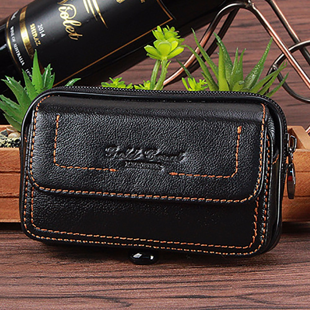 Genuine Leather Cowhide Men Cell/Mobile Phone Case Cover Skin Belt Fanny Pack Small Purse Bag Hip Bum Casual Male Waist Bag New