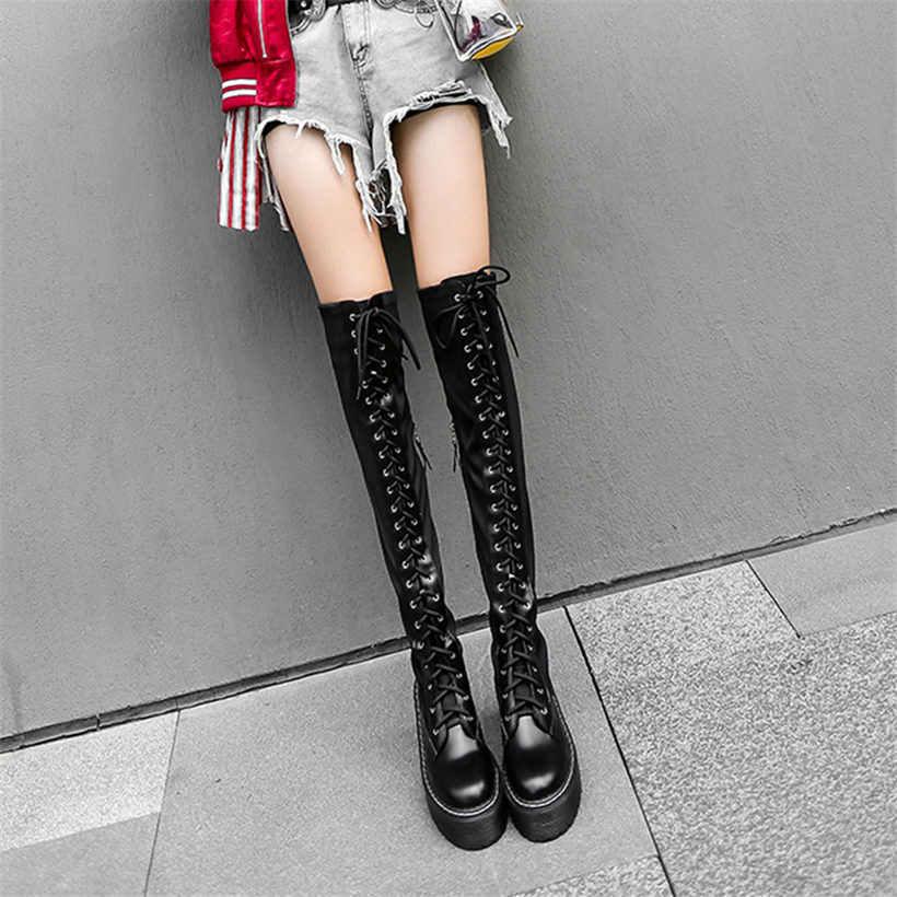Uyluk yüksek Oxfords ayakkabı kadınlar dantel Up Strappy diz yüksek motosiklet botları uzun mil Punk Sneakers siyah Goth sürüngen