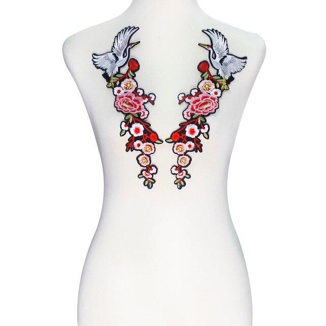 10 pares de grullas de espejo patrón de flores hierro en parches de ...