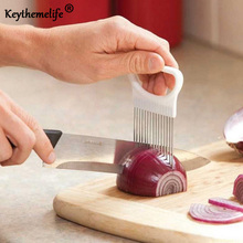 Keythemelife 1 Pcs Onion Tomato Vegetable Slicer Cutting Meat Fork Aid Guide Holder Slicing Cutter Needle Cooking Tool DF