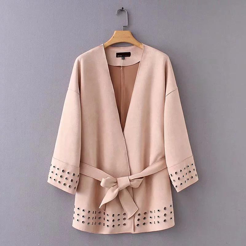 2019 Spring New Arrival Fine   Suede   Jacket For Women V Neck Kimono Style Long   Leather   Trench Coat Faux   Suede   Jacket Free Shipping