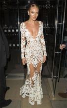 Sexy Tiefem V-ausschnitt Karlie Koss Celebrity Dress Applikationen Sehen durch Volle Hülsen Mermaid Formale Abendkleider Abschlussball-partei-kleid für frauen